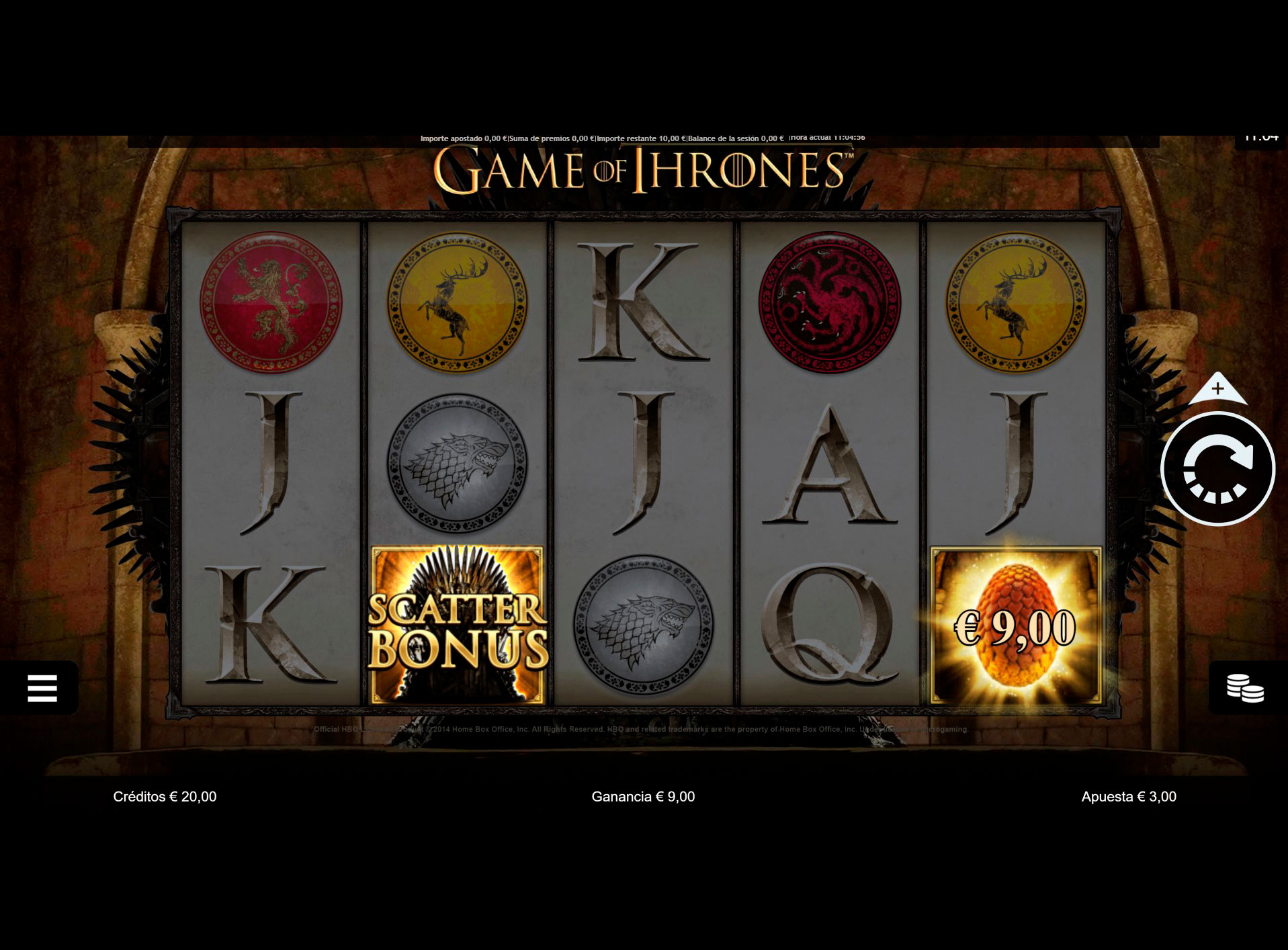 Slot Game of thrones 15 Lines